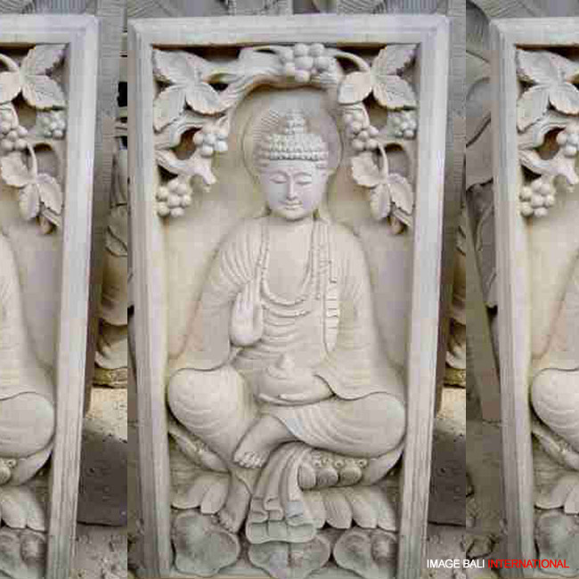 Sand stone carving relief product services bali
